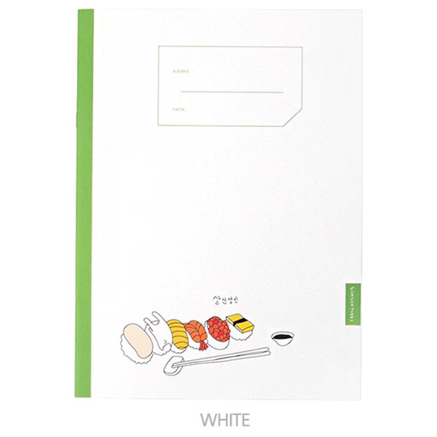 White - Simsimtokki illustration lined school notebook