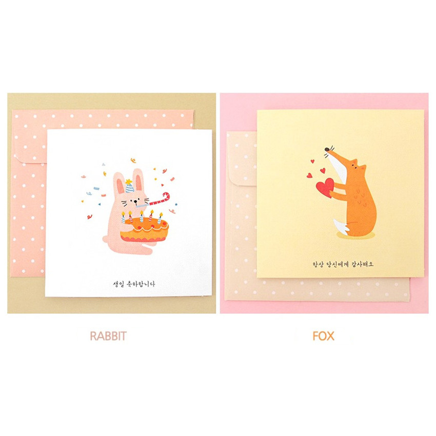 Rabbit, Fox - Animal message card with envelope
