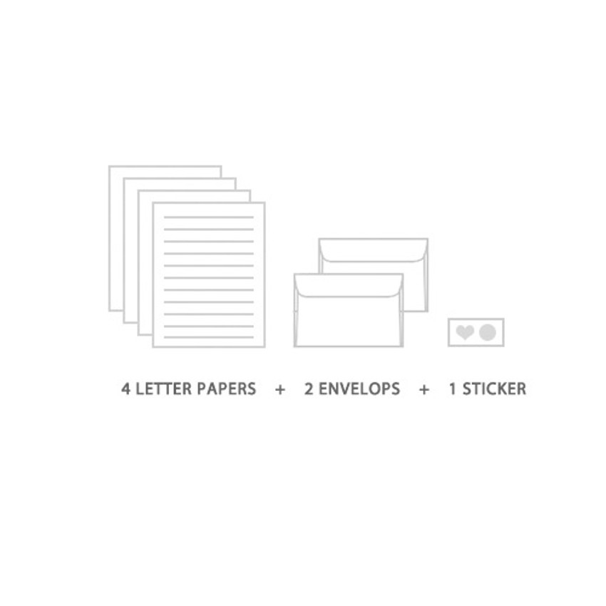 Composition of Soft flower pattern letter paper and envelope