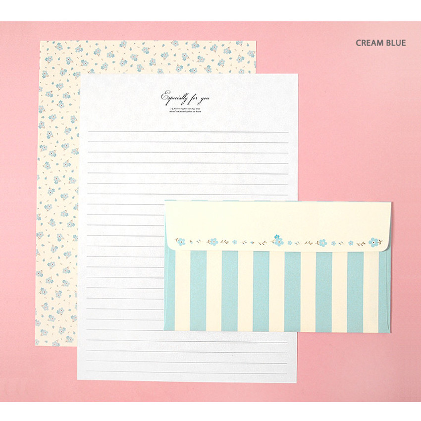 Cream blue - Soft flower pattern letter paper and envelope