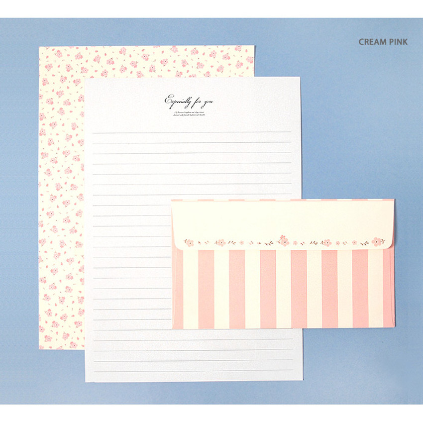 Cream pink - Soft flower pattern letter paper and envelope