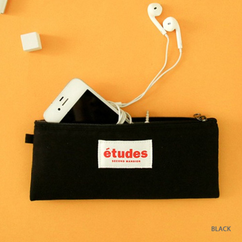 Black - Etudes flat cotton pencil pouch