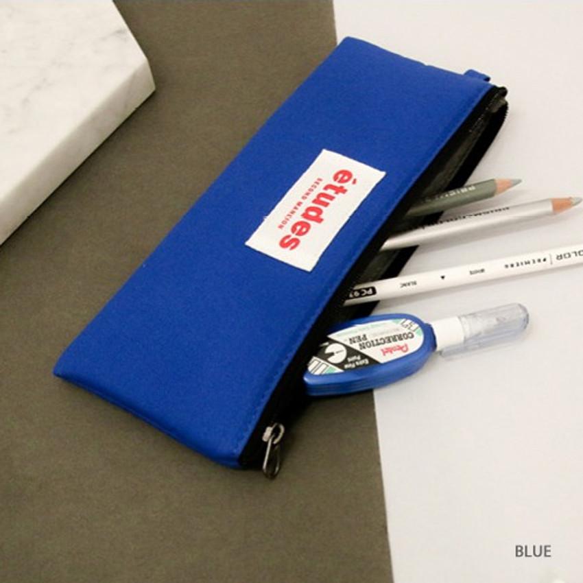 Blue - Etudes flat cotton pencil pouch