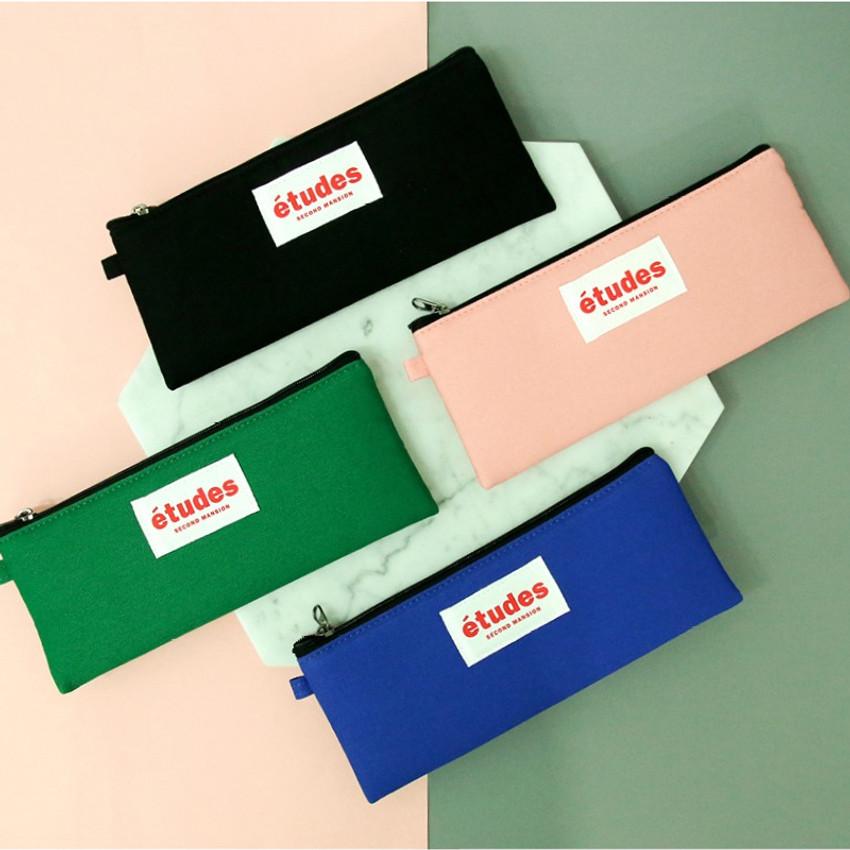 Etudes flat cotton pencil pouch