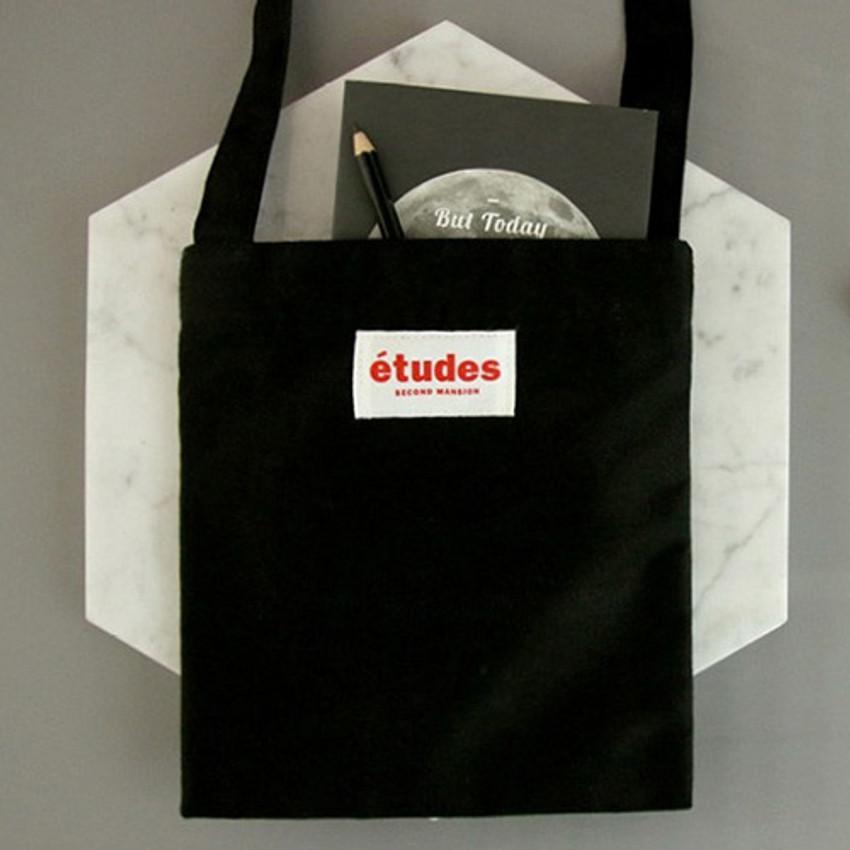 Black - Etudes passport cotton crossbody bag