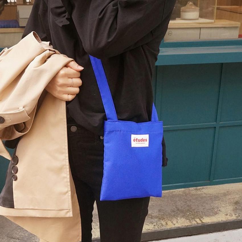 Blue - Etudes passport cotton crossbody bag