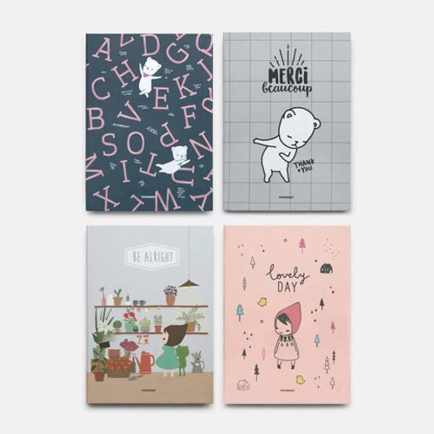Cute illustration hardcover medium lined and plain notebook