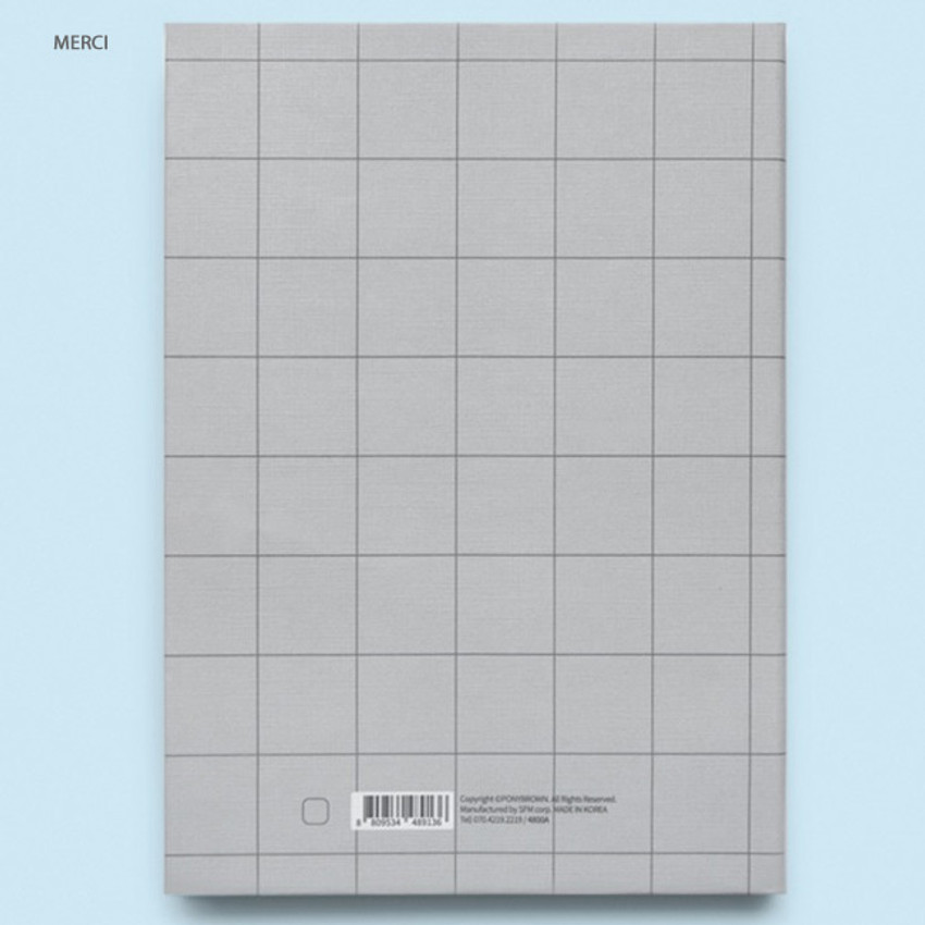 Merci - Cute illustration hardcover medium lined and plain notebook