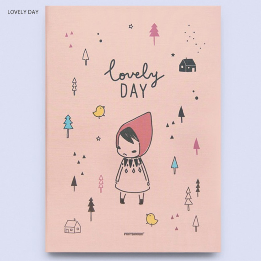 Lovely day - Cute illustration hardcover medium lined and plain notebook