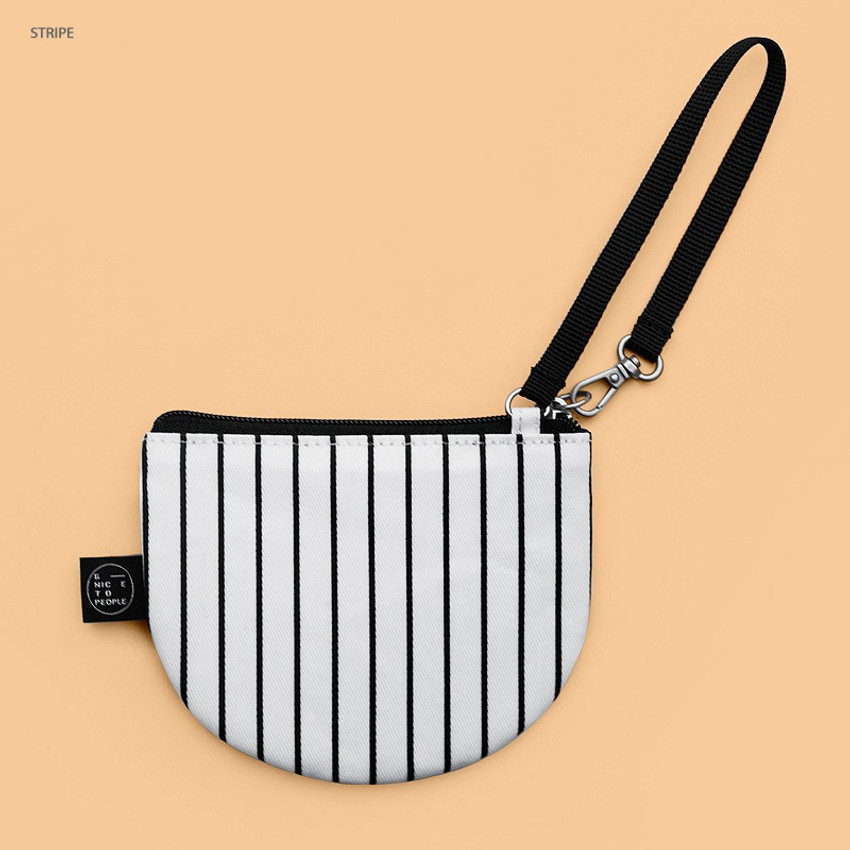 Stripe - BNTP Semicircle small zipper pouch with strap