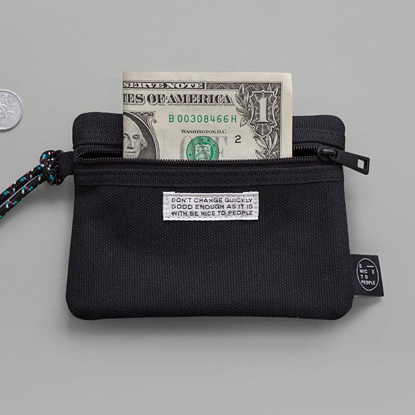 Front - BNTP Double pocket small zipper pouch with strap