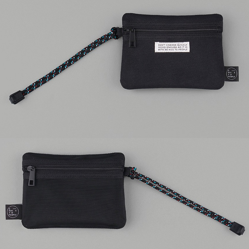 Double pocket small zipper pouch with strap