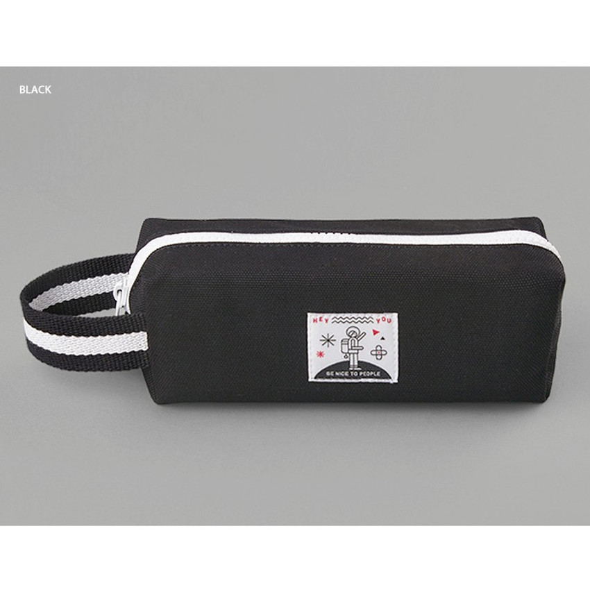 Black - BNTP Hey you zipper pencil case with strap