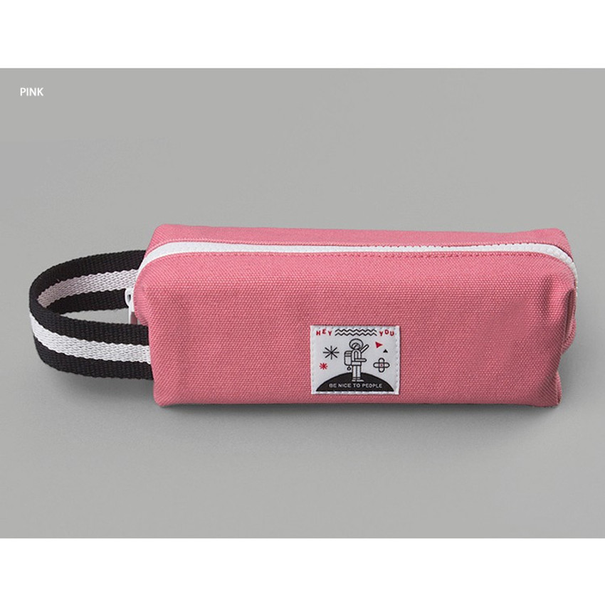 Pink - BNTP Hey you zipper pencil case with strap