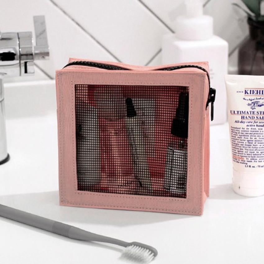 Pink - BNTP Washer block square medium zipper pouch