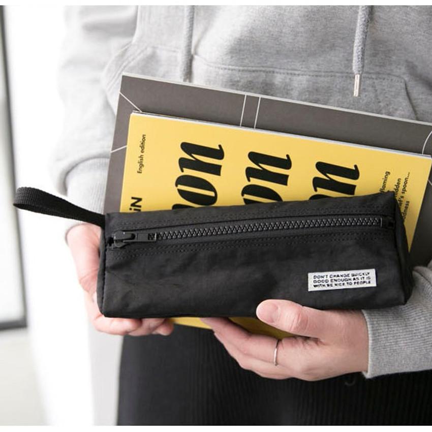 Black - BNTP Washer long zipper pouch pencil case