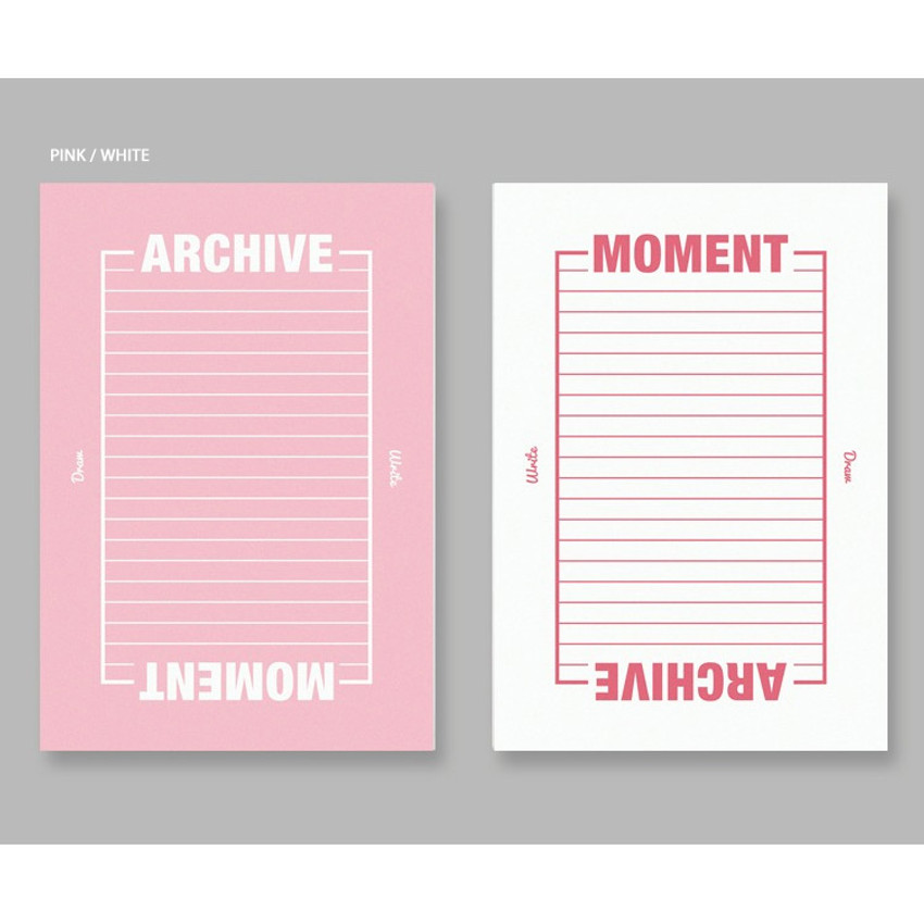 Pink white - BNTP Moment archive two way lined notebook