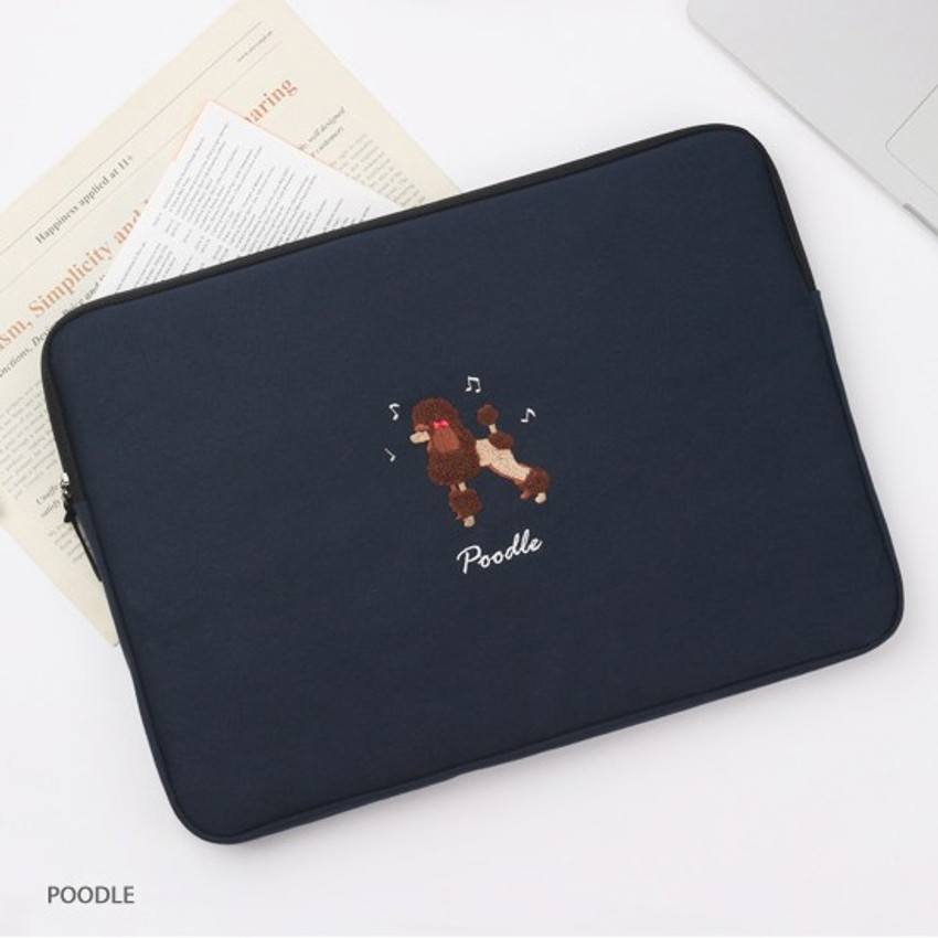 Poodle - Tailorbird embroidery 15 inches laptop case