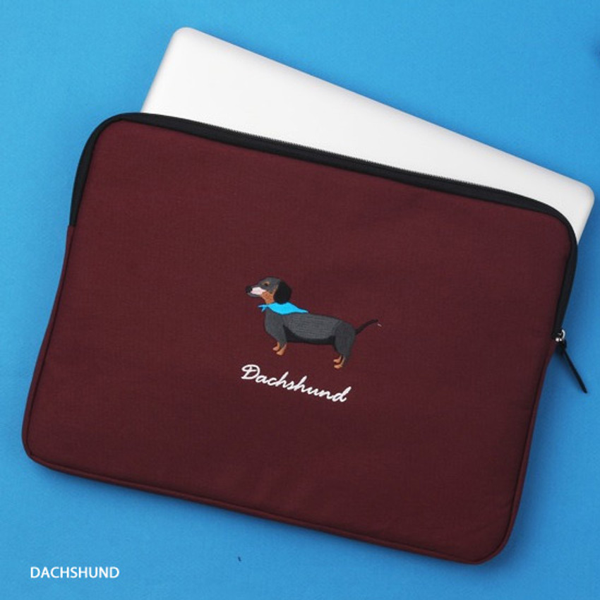 dachshund - Tailorbird embroidery 15 inches laptop case