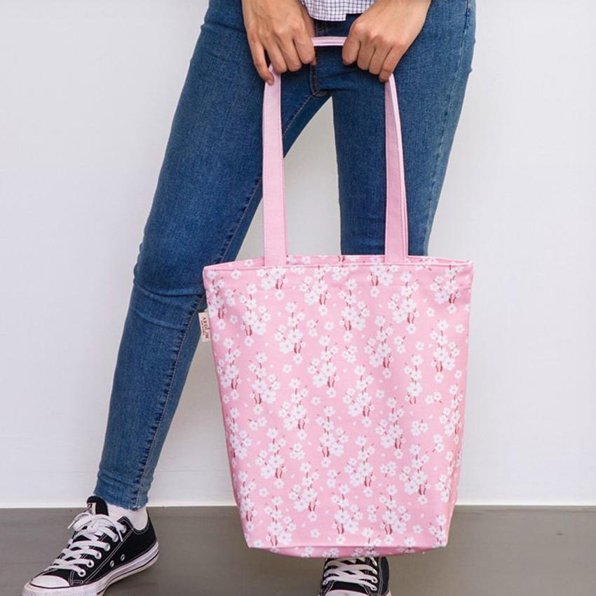 Blossom pink - Pattern canvas shoulder bag