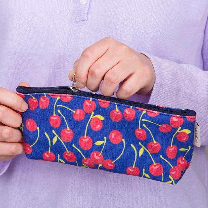 Cherry - Pattern canvas zipper pouch