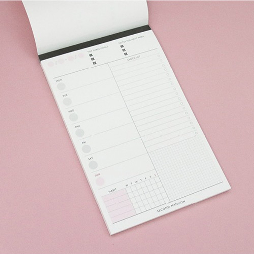 A5 weekly notepad planner
