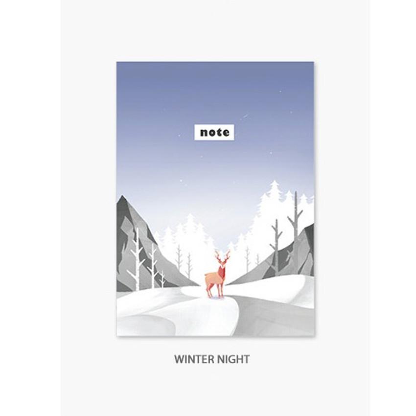 Winter night - Illustration mini small lined notebook