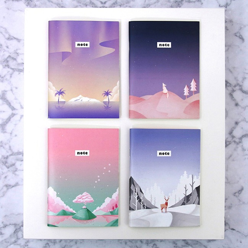 Illustration mini small lined notebook