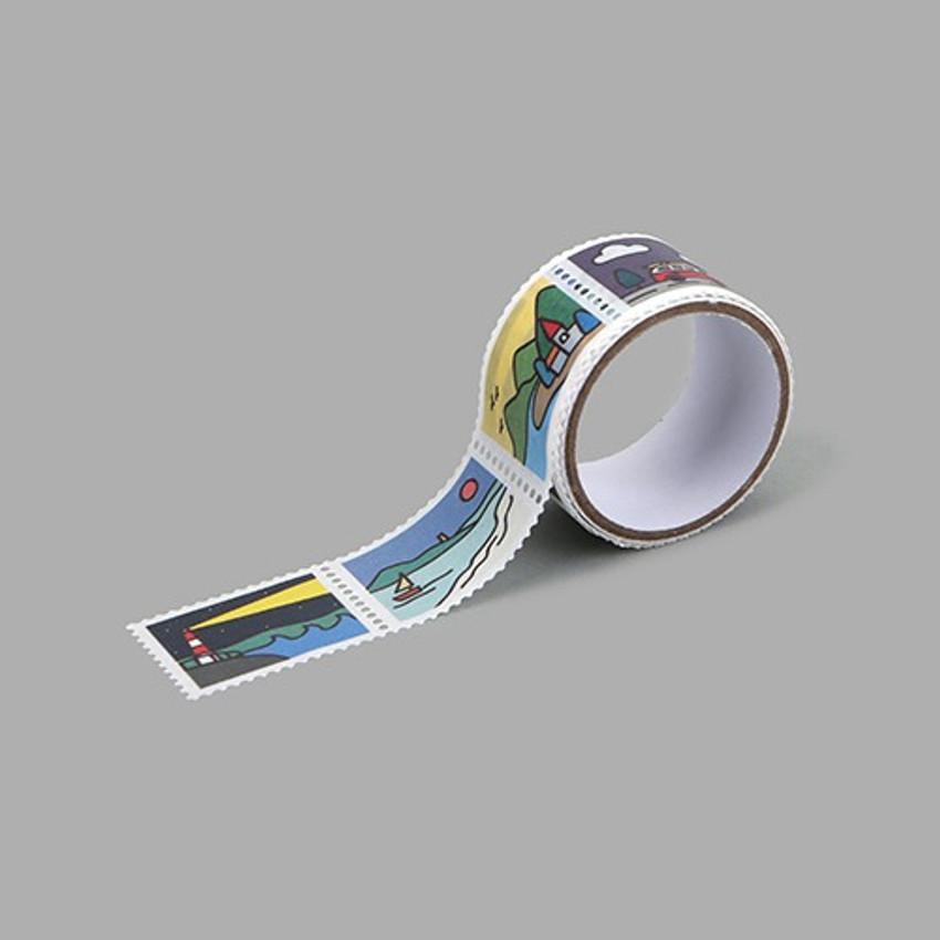 Landscape deco single stamp masking tape