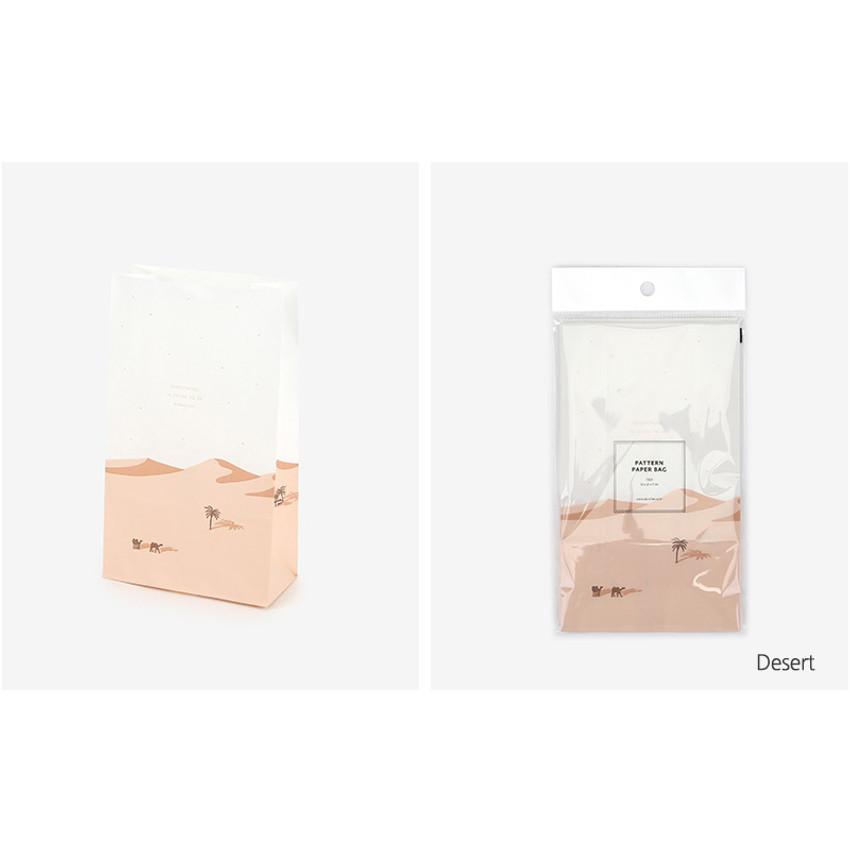 Desert - Desert and cat pattern small paper gift bag set