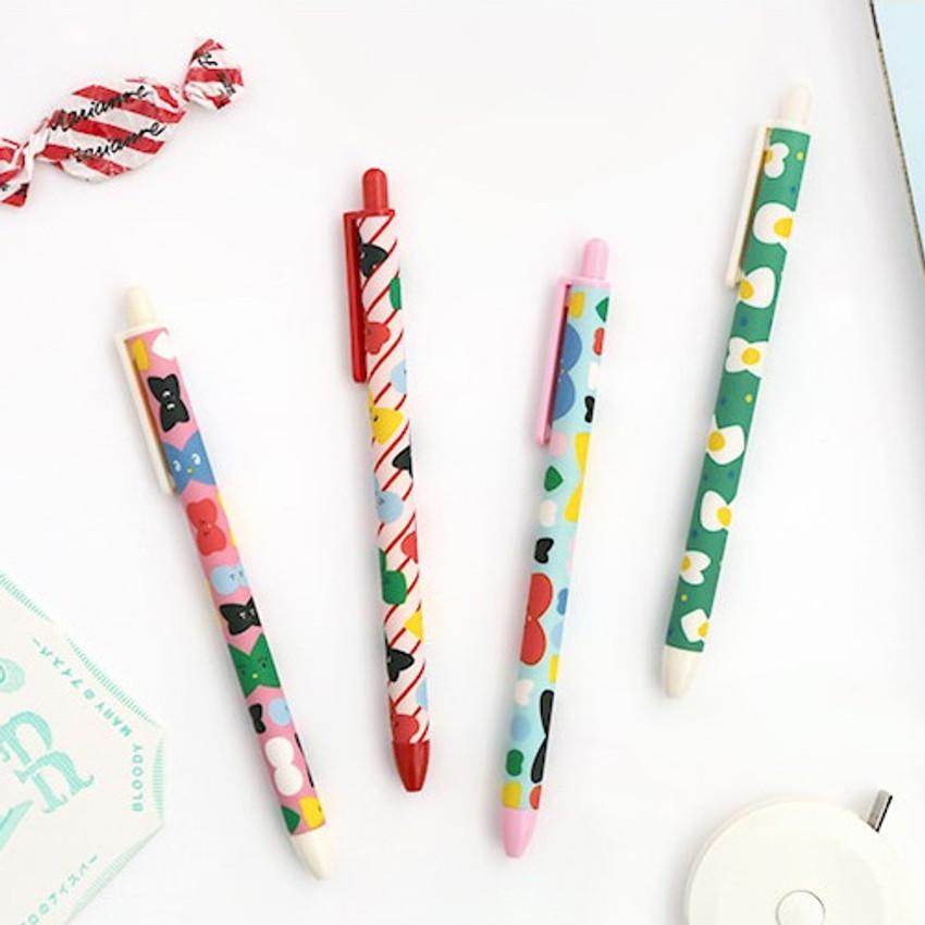 Ribbon pattern series - ROMANE Print black knock retractable ballpoint pen 0.38mm