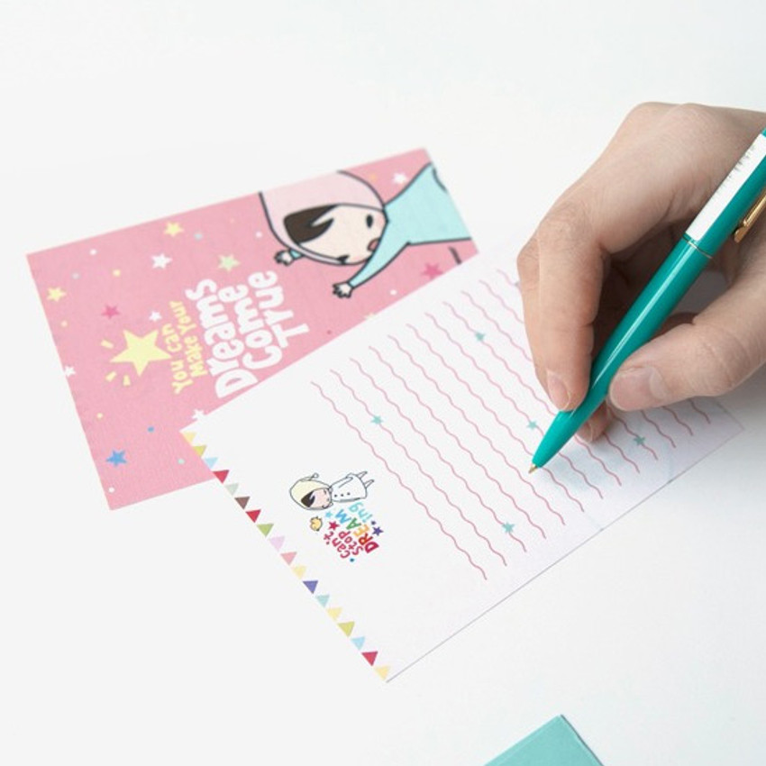 Example of Cute illustration small letter paper and envelope set