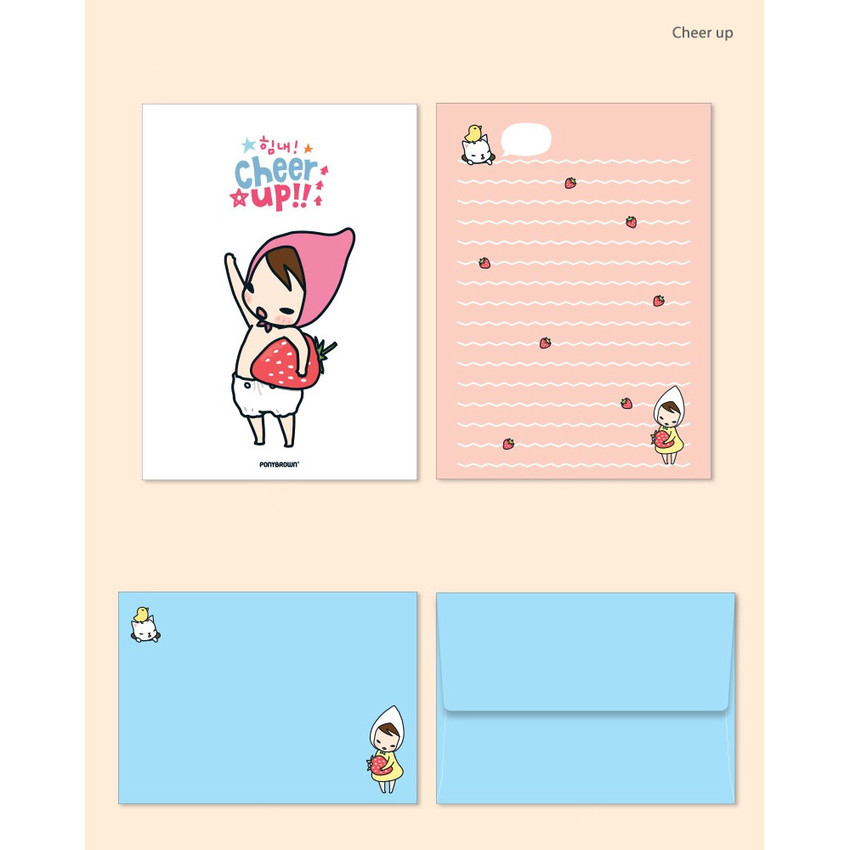 Cheer up 02 - Cute illustration small letter paper and envelope set
