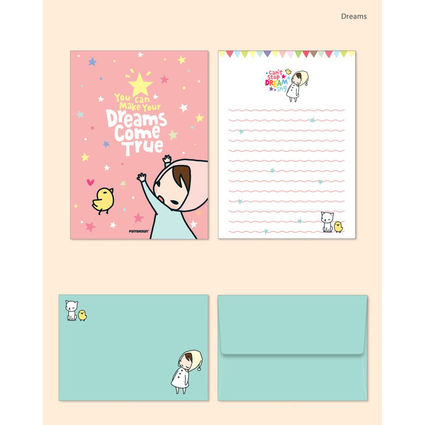 Dreams - Cute illustration small letter paper and envelope set