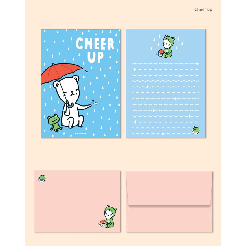 Cheer up - Cute illustration small letter paper and envelope set