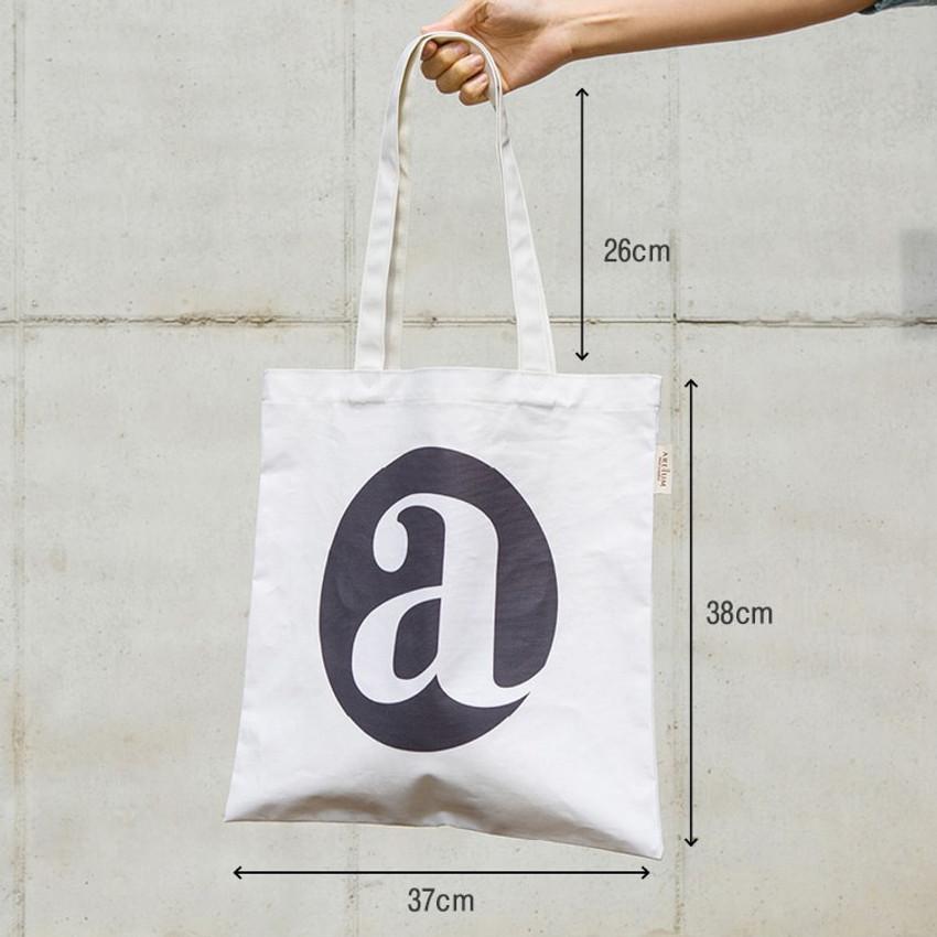 Size of Alphabet letter A cotton canvas tote bag