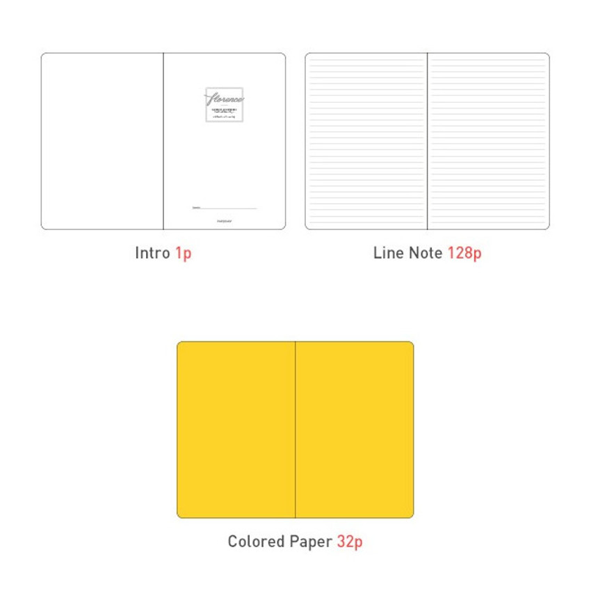 Composition of Florence A5 hardcover lined notebook