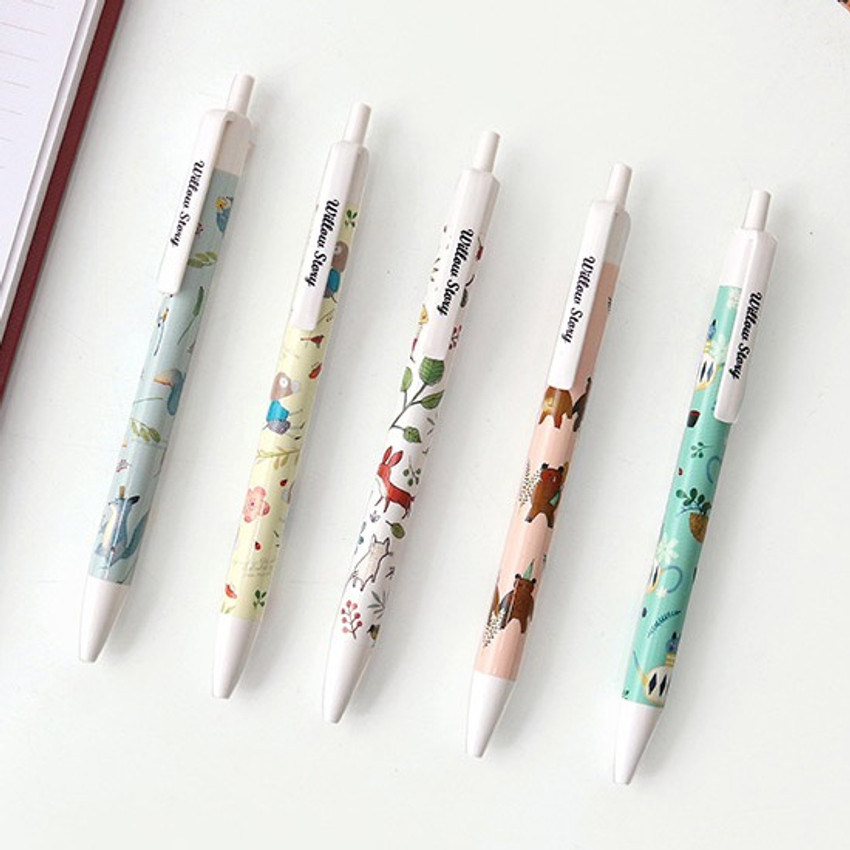 Willow pattern 0.5mm knock ballpoint pen black ink