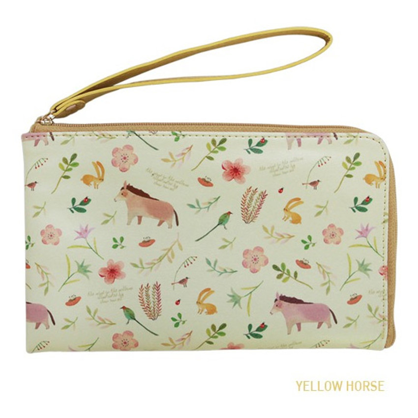 Yellow horse - Willow story pattern half zip around wallet