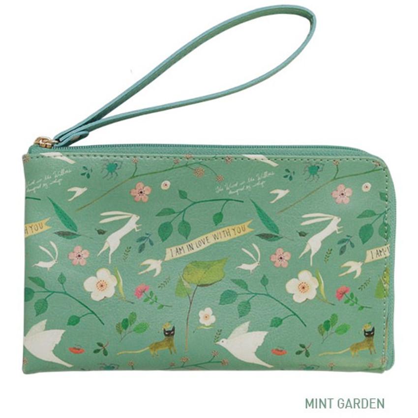 Mint garden - Willow story pattern half zip around wallet
