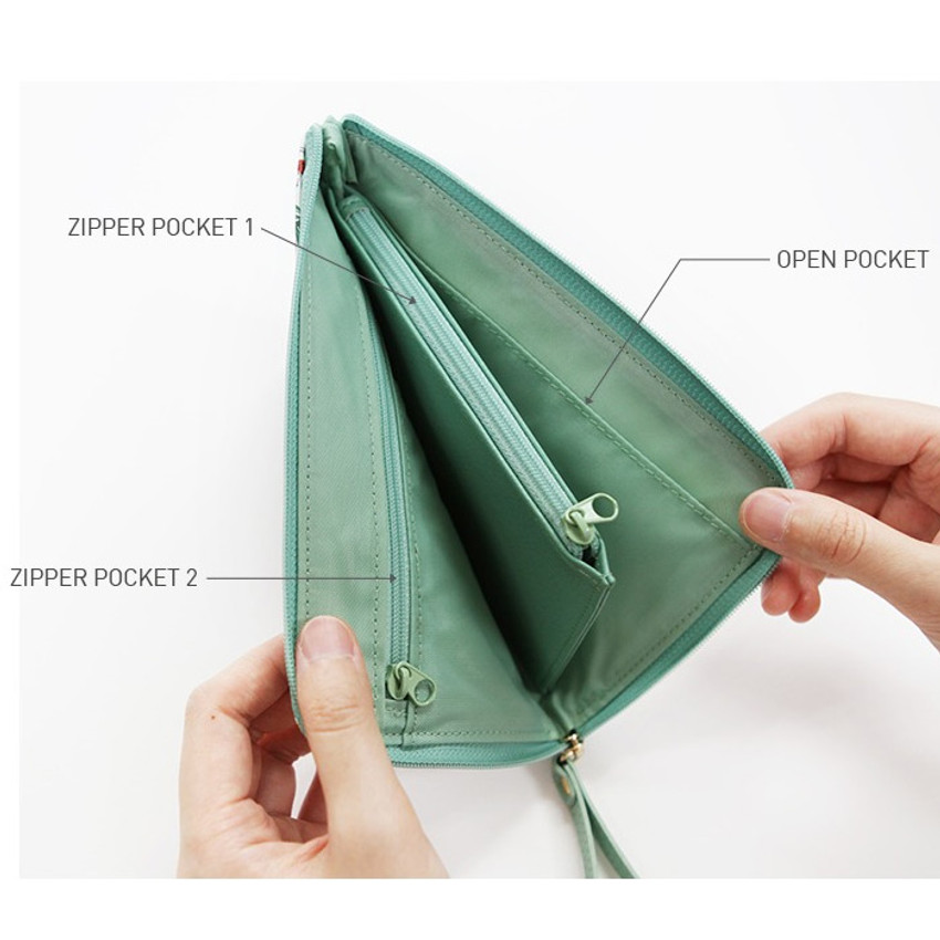 Detail of Willow story pattern half zip around wallet