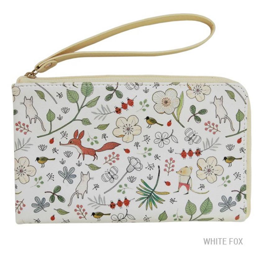 White fox - Willow story pattern half zip around wallet
