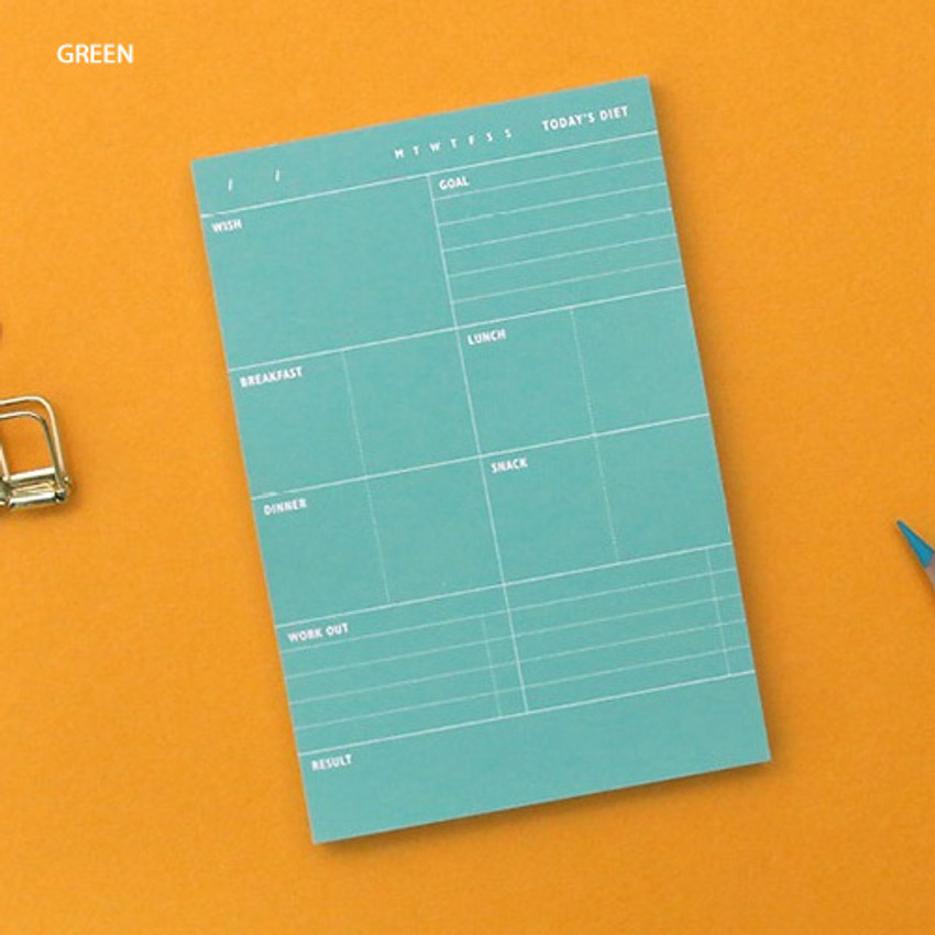 Green - Today's diet schedule notepad
