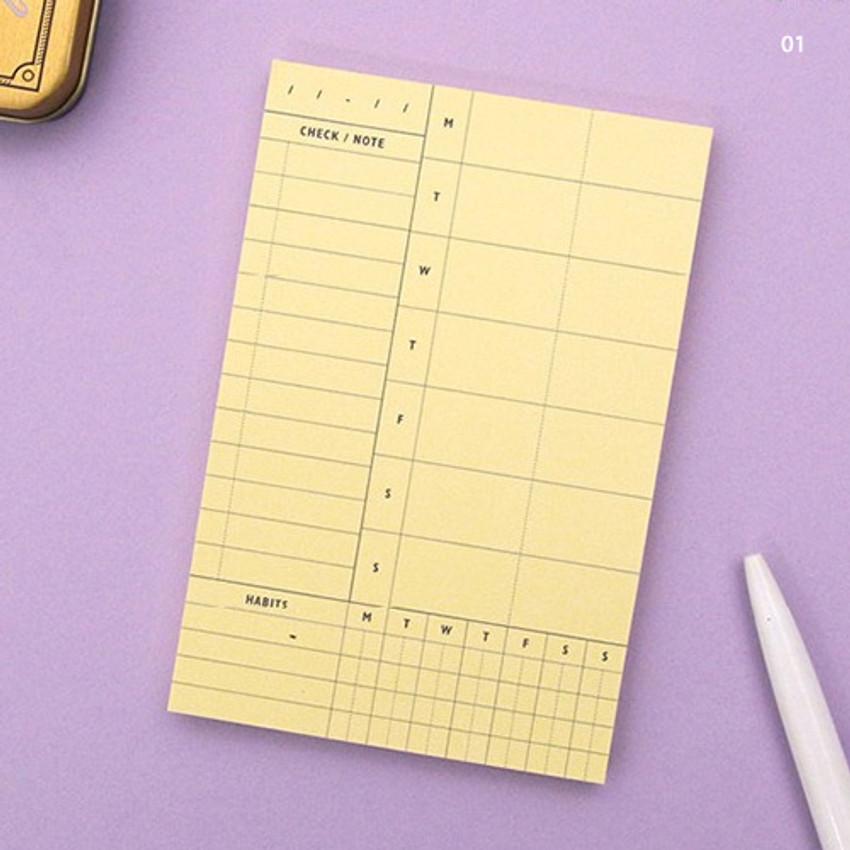 01 - Weekly plan memo notepad