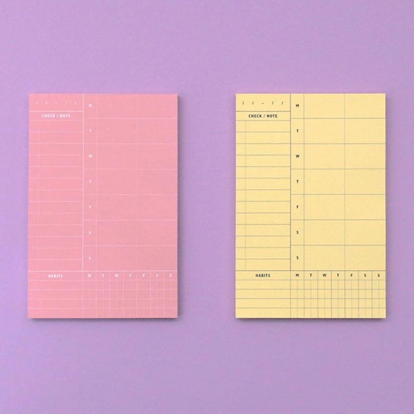 Weekly plan memo notepad