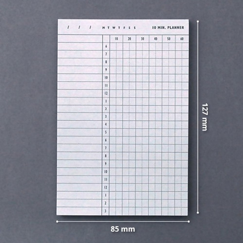 Size of 10 minutes daily plan memo notepad