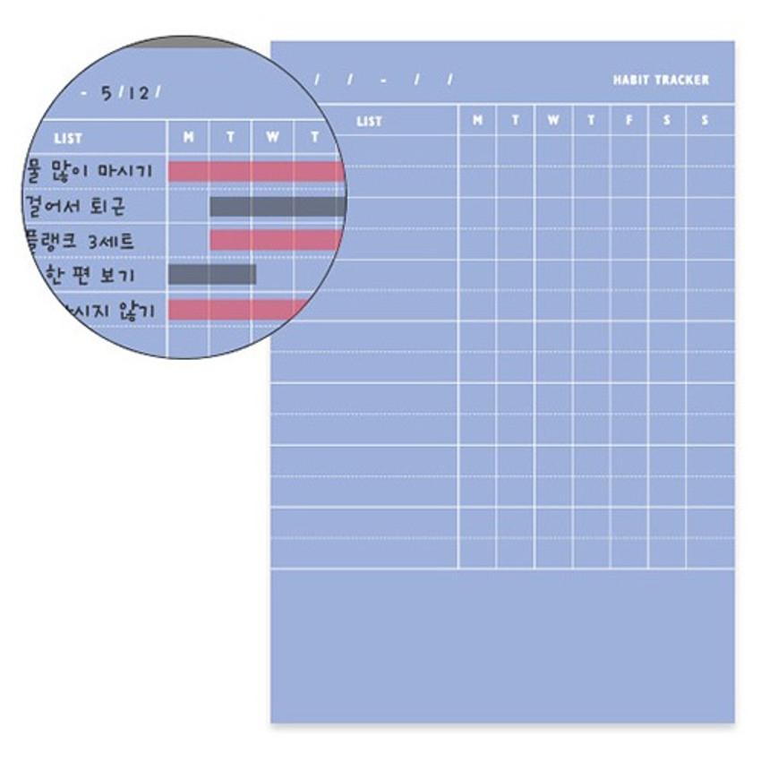 Detail of Habit tracker memo notepad