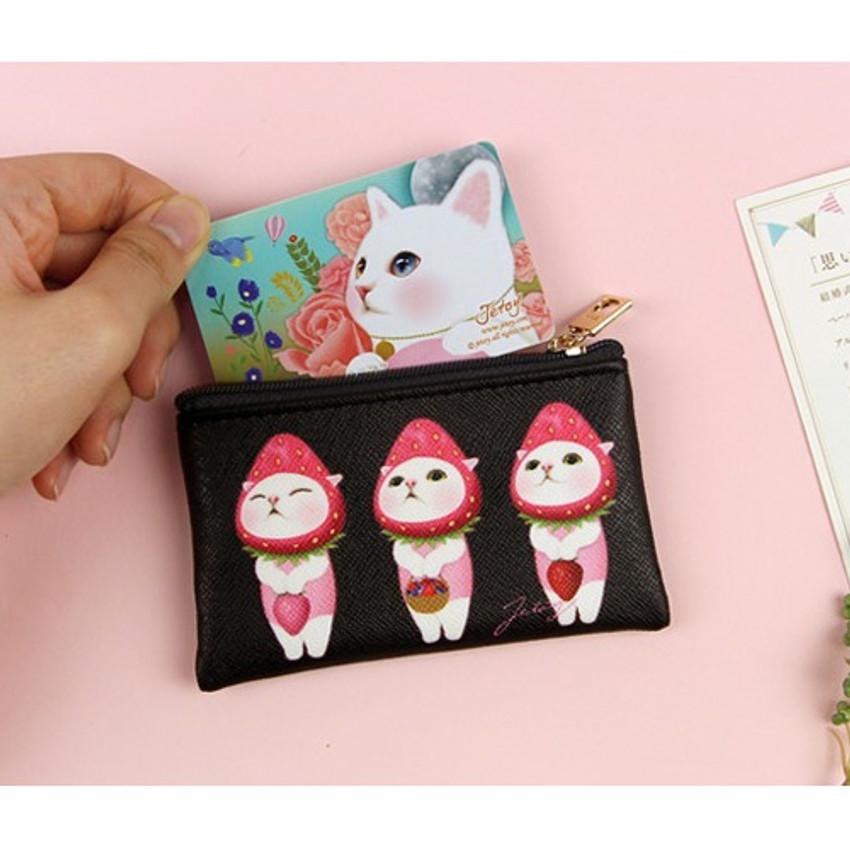 Berry choo - Jetoy Choo Choo cat flat zipper card case
