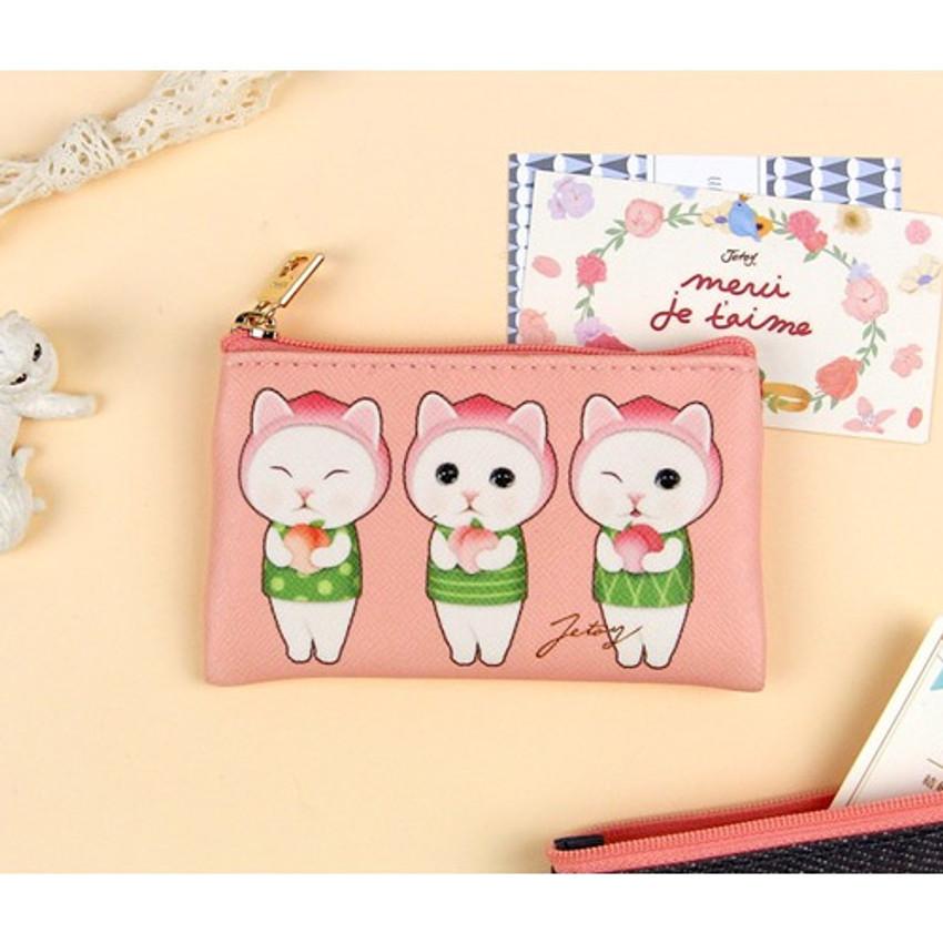 Jetoy Choo Choo cat flat zipper card case
