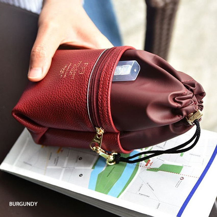 Burgundy - Sunny twin glasses pocket drawstring pouch